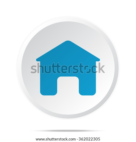 Flat blue Home icon on circle web button on white
