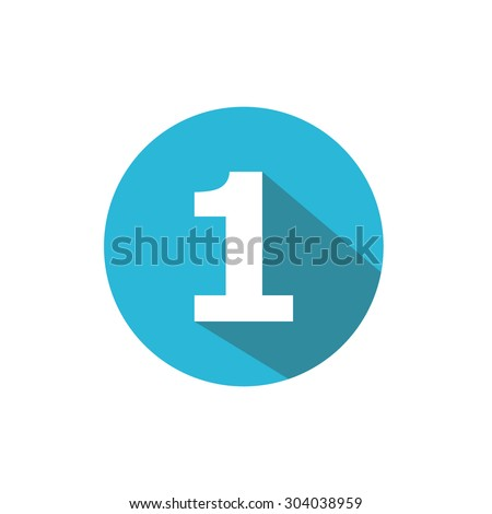 Flat Blue Icon Number , 1 - stock vector