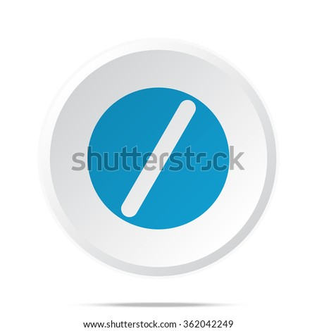 Flat blue Pill icon on circle web button on white - stock vector