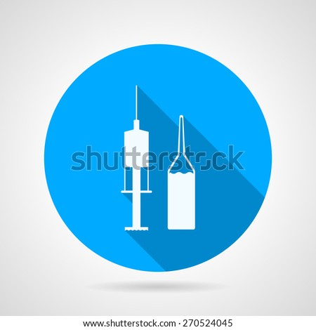 Flat blue round vector icon with white silhouette ampoule with liquid and syringe for medical injection on gray background. Long shadow design - stock vector