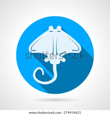 Flat blue round vector icon with white silhouette stingray on gray  background. Long shadow design - stock vector