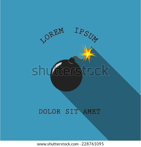 Flat bomb on blue background - stock vector