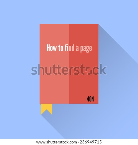 Flat book icon. 404 error faq. Funny guide and lovely design. Can be used as icon, card etc. Vector illustration. - stock vector