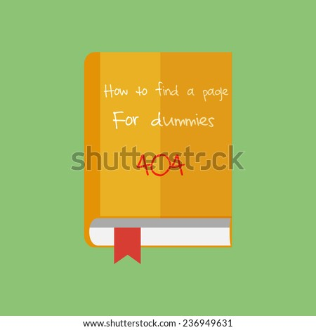 Flat book icon. How to find a page in Internet. Network unusual guide.Vector illustration - stock vector
