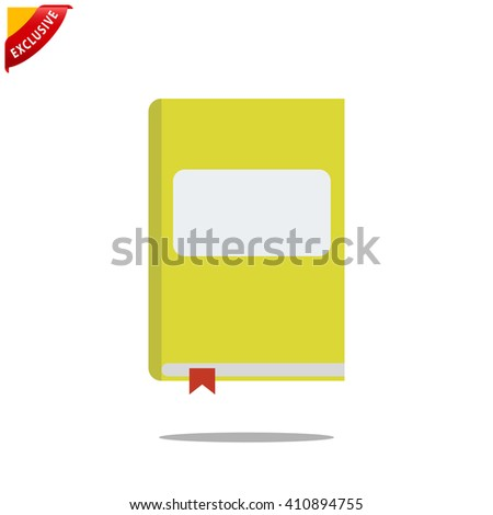 flat book icon, vector education icon, isolated book icon - stock vector