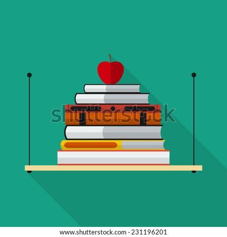 Flat bookshelf with long shadow. Vector icon, illustration. Modern design - stock vector