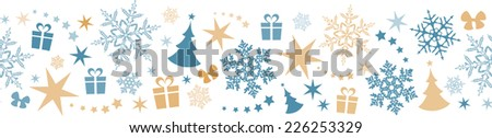 Flat border design with Christmas and winter symbols that will tile seamlessly horizontally. Great for decoration. - stock vector