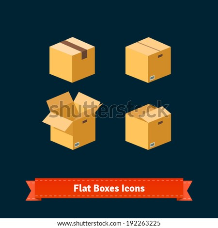 Flat boxes icons set. EPS10 vector. - stock vector