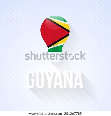 Flat Bulb and Creative Ideas Vector National Icons Co-operative Republic of Guyana - stock vector