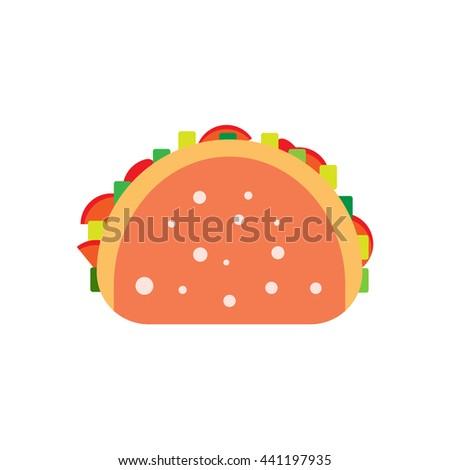 Flat burrito illustration. Street meal tortilla icon. unhealthy taco vector. Isolated fajitaon white background. Street fast food - stock vector