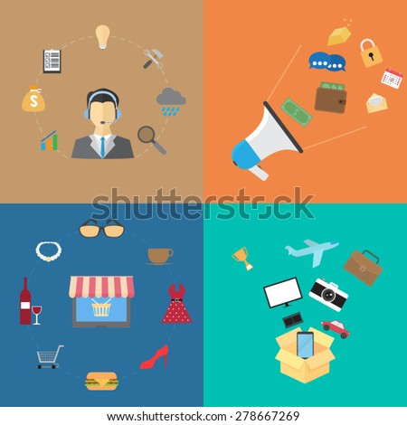 flat business and finance concepts - stock vector