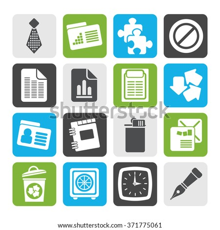 Flat Business and Office Icons- Vector Icon Set - stock vector