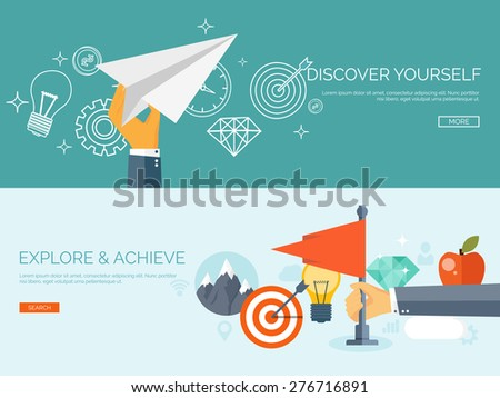 Flat business background. Portfolio. Time management. Alarm. Planning. Aims and smart solutions. Flag. Achievement and discovery. - stock vector
