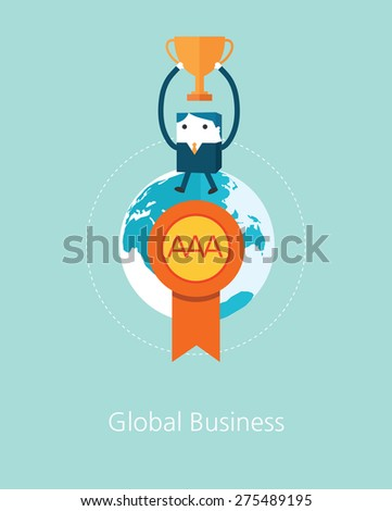 Flat Business character Series. business winner concept  - stock vector
