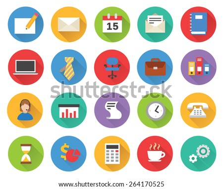 Flat business icons vector set - stock vector