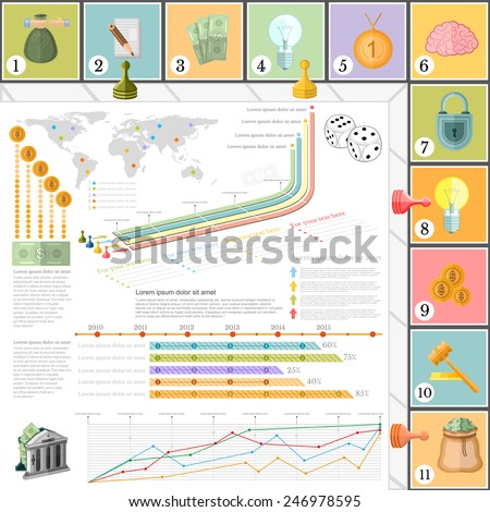 flat business infographic background top view with financial board game game cells dice game pieces money - stock vector