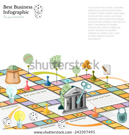 flat business infographic background with financial board game game cells dice game pieces money - stock vector