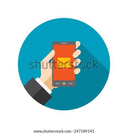 Flat Business Man Hold Smart Phone Digital Marketing icon design and long shadow vector illustration for website and promotion banners.  - stock vector