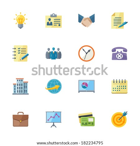 Flat Business & Office Icons - stock vector