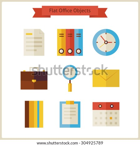 Flat Business Office Objects Set. Vector Illustration. Collection of Office Tools Objects Isolated over white. Workplace. Business Concept  - stock vector