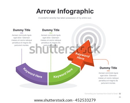 Flat business presentation vector slide template with arrow step process target diagram chart