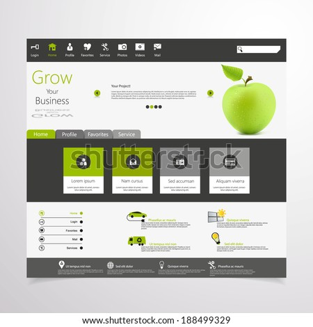 Flat Business Website Template Vector Eps 10 with photorealistic green apple - stock vector