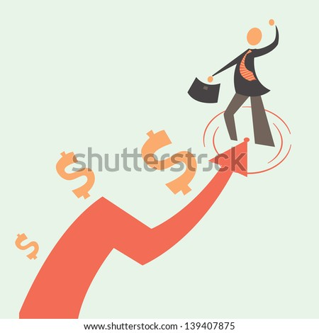 Flat businessman and arrow. Concept businessman growth. The growth of business. Development of a businessman. Simple vector illustration of a businessman and his growth. red arrow Development