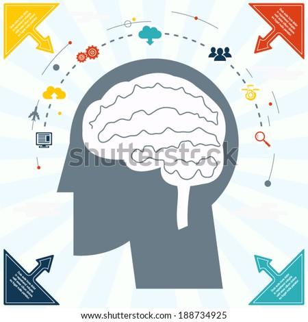 Flat Businessman Brain Headmind social Network Media Icon Infographics Vector illustration - stock vector