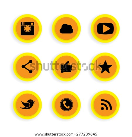 flat button designs of camera, messenger bird, phone receiver, website share - social network vector icons. This also represents rss syndication, cloud computing, playing video, chatting - stock vector