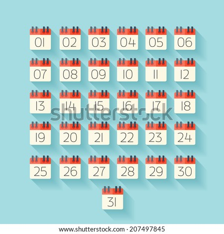 Flat calendar icon. Date and time background. - stock vector