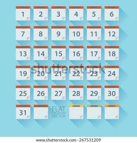 Flat calendar icon. Date and time background.