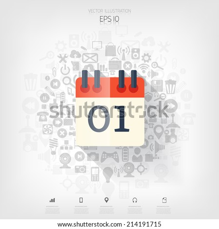 Flat calendar icon. Date and time background.Management concept with web application icons. - stock vector