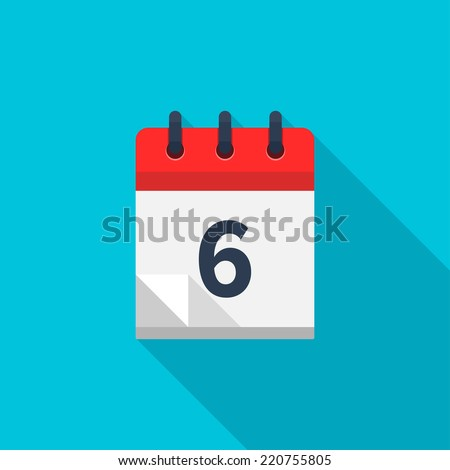 Flat calendar icon. Date and time background. Number 6 - stock vector