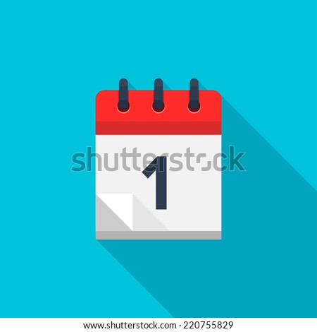 Flat calendar icon. Date and time background. Number 1 - stock vector