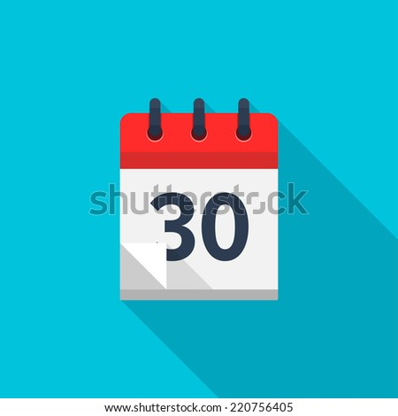 Flat calendar icon. Date and time background. Number 30 - stock vector