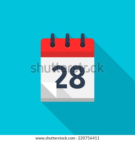 Flat calendar icon. Date and time background. Number 28 - stock vector