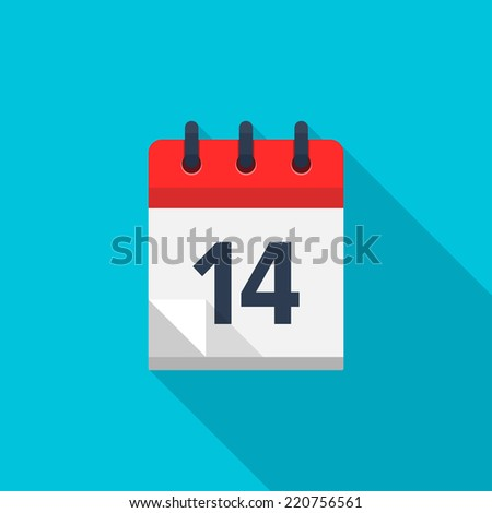 Flat calendar icon. Date and time background. Number 14 - stock vector
