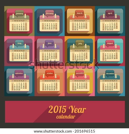 Flat calendar 2015 year design, English, Sunday start - stock vector