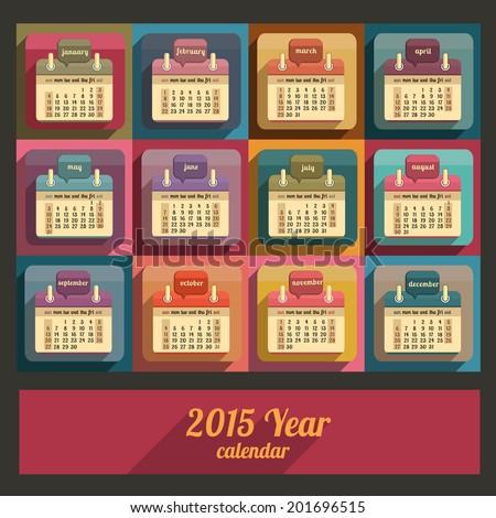 Flat calendar 2015 year design, English, Sunday start - stock vector
