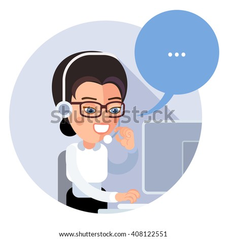 Flat call-center icon. Young operator customer service, a girl, sitting half-turned, smiling, talking on the phone and looking at computer monitor. eps8 - stock vector