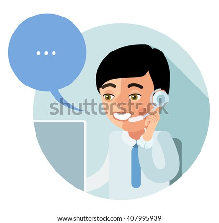Flat call-center icon. Young operator customer service, sitting half-turned, smiling, talking on the phone and looking at computer monitor. eps8 - stock vector