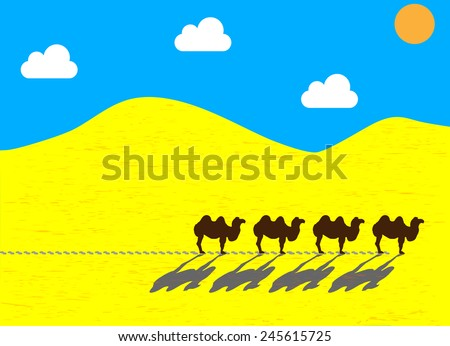 Flat camels going through the desert, the sun leaving traces. Vector illustration EPS10 - stock vector