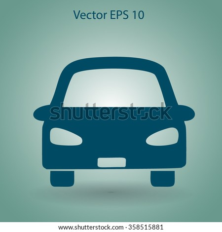 Flat car icon. Vector.
