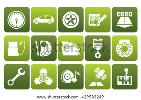 Flat car parts, services and characteristics icons - vector icon set - stock vector
