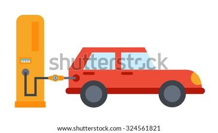 Flat car refuelling illustration - stock vector