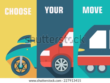 Flat cars concept set icon backgrounds illustration design. Tamplate for web and mobile - stock vector