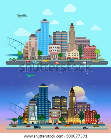 Flat cartoon city set day and night. Road highway avenue transport street traffic before line of buildings skyscrapers business center offices. Urban life lifestyle collection. - stock vector