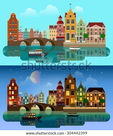 Flat cartoon multicolor colorful historic buildings city town suburb set day and sunset night Amsterdam Holland. River sea canal channel bridge boat embankment street. Urban life lifestyle collection. - stock vector
