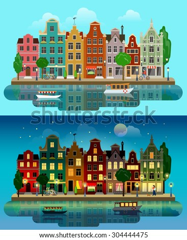 Flat cartoon multicolor colorful historic buildings city town suburb set day and sunset night Amsterdam Holland. River canal channel boat embankment street bicycles. Urban life lifestyle collection. - stock vector