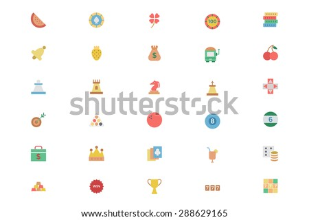 Flat Casino Vector Colored Icons 2 - stock vector
